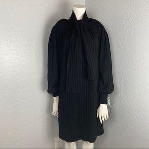 Emmanuelle Khanh Black Wool Long Sleeve Dress